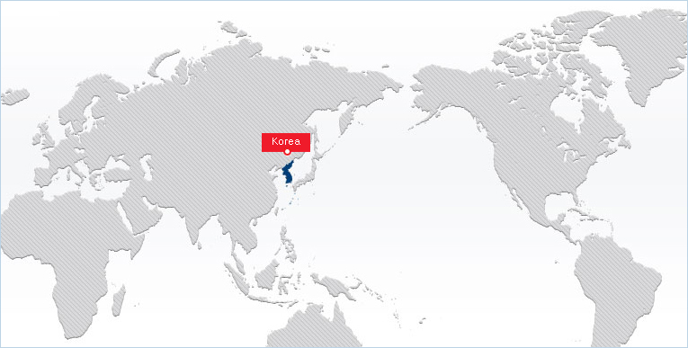 world map showing korea